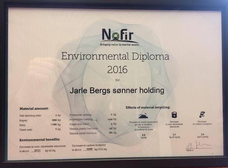 Diplomet fra Nofir skal minne oss på viktigheten av å tenke på miljøet.